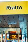 Знак автобусной остановки воды Rialto Стоковые Изображения