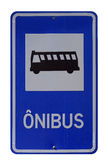 Знак автобусной остановки на белой предпосылке в Бразилии Стоковое фото RF
