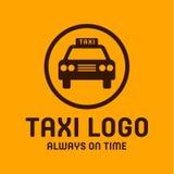 Знак автомобиля тенденции стиля значка логотипа такси желтый, иллюстрация Стоковые Фото