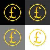Знак Англия фунта стерлинга золотой Иллюстрация штока