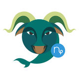 Знак астрологии козерога изолированный на белизне Символ зодиака гороскопа Стоковые Изображения