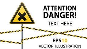 Знак безопасности Предосторежение - опасность вредная к веществам здоровья аллергическим ирритантным Лента барьера вектор изображ иллюстрация штока