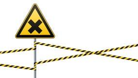 Знак безопасности Предосторежение - опасность вредная к веществам здоровья аллергическим ирритантным Лента барьера вектор изображ бесплатная иллюстрация