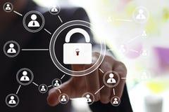 Знак безопасностью замка сети кнопки дела виртуальный Стоковое Изображение RF