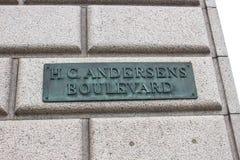 Знак бульвара Ганс Кристиан Андерсен Стоковые Изображения RF