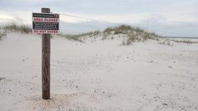 Знак близкой зоны в пляже Pensacola, Seashore соотечественника острова залива введите не видеоматериал