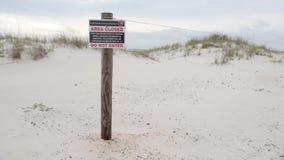 Знак близкой зоны в пляже Pensacola, Seashore соотечественника острова залива введите не акции видеоматериалы