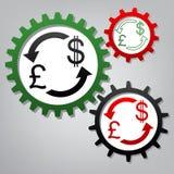 Знак валютной биржи Великобритания: Фунт и доллар США вектор 3 c иллюстрация штока
