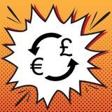 Знак валютной биржи Евро и фунт Великобритании вектор Стиль комиксов иллюстрация штока