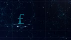 Знак валюты космоса голубой Фунт стерлингов Британии Международная валюта иллюстрация вектора