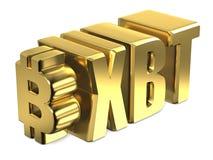 Знак валюты 3D Bitcoin XBT золотой Стоковое фото RF