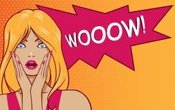Знак ВАУ женщины искусства шипучки Стоковая Фотография RF