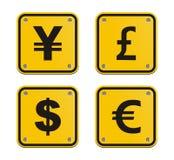 Знак валюты желтый Стоковое Изображение RF