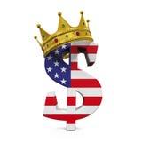 Знак валюты доллара с кроной Стоковое Изображение