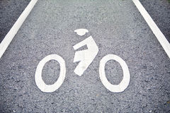 Знак велосипеда на майне Стоковые Изображения