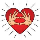Знак влюбленности над предпосылкой красного цвета полутонового изображения Иллюстрация вектора