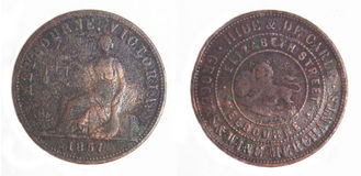 знак внимания пенни меди монетки 1857 австралийцев вряд Стоковая Фотография