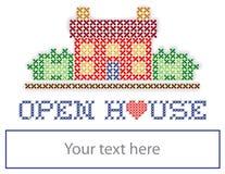 Знак двора открытого дома недвижимости Стоковые Изображения