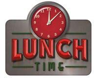 Знак времени обеда винтажный с часами стоковое фото rf