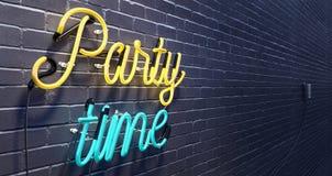Знак времени партии на черной предпосылке кирпичной стены Стоковая Фотография RF