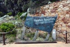 Знак входа к бдительности для 12 апостолов в Австралии Стоковое фото RF