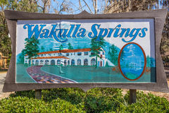Знак входа парка штата весен Wakulla шарика Эдварда, Флорида Стоковое фото RF