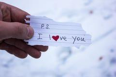 Знак влюбленности в руке человека Стоковое Фото