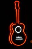 знак гитары неоновый Стоковое фото RF