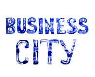 Знак города дела сделанный голубого watercolour Собрание текстурированное Watercolour Стоковые Фотографии RF
