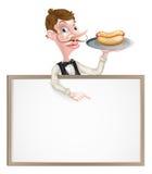 Знак горячей сосиски кельнера шаржа Стоковые Фотографии RF