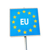Знак границы Европы Стоковая Фотография RF