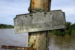 Знак границы для Коста-Рика и Панамы Стоковые Изображения