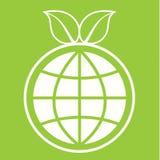 Знак глобуса зеленого цвета Eco иллюстрация вектора