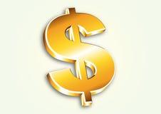 знак доллара золотистый Стоковые Фотографии RF