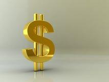 знак доллара золотистый Стоковая Фотография