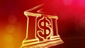 Знак доллара и эмблема банка Предпосылка финансов светящих частиц анимация петли 3D с глубиной поля, bokeh сток-видео