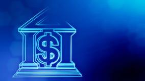 Знак доллара и эмблема банка Предпосылка финансов светящих частиц анимация петли 3D с глубиной поля, bokeh бесплатная иллюстрация