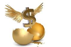 Знак доллара с крылами и золотом пролома egg иллюстрация 3d бесплатная иллюстрация