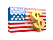 знак доллара 3D и флаг США Стоковое Изображение RF