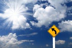 Знак левого поворота знака направления Стоковое Изображение