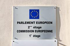 Знак Европейского парламента и комиссии Стоковое Изображение