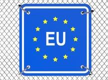 Знак Европейского союза с связанной проволокой загородкой Стоковая Фотография RF