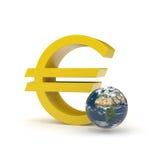знак евро земли Стоковые Изображения RF