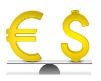 Знак евро и доллара на масштабах Стоковая Фотография RF