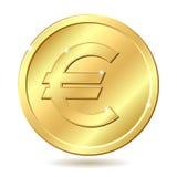 знак евро монетки золотистый Стоковое Изображение RF