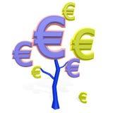Знак евро на дереве Стоковые Фото