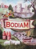 Знак деревни Bodiam, восточное Сассекс иллюстрация штока