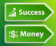 Знак дела с успехом и деньгами текста Стоковая Фотография RF