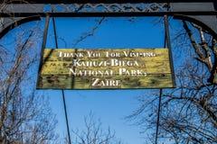 Знак Заира - национального парка Kahuzi Biega Стоковые Изображения RF
