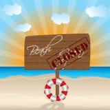 Знак закрытого пляжа деревянный Стоковая Фотография RF